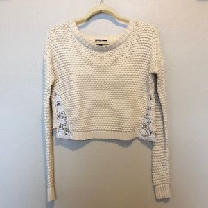 Cropped Cream Knit Sweater